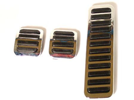 Jeu de 3 (accélérateur, frein et embrayage) en chrome/caoutchouc noir