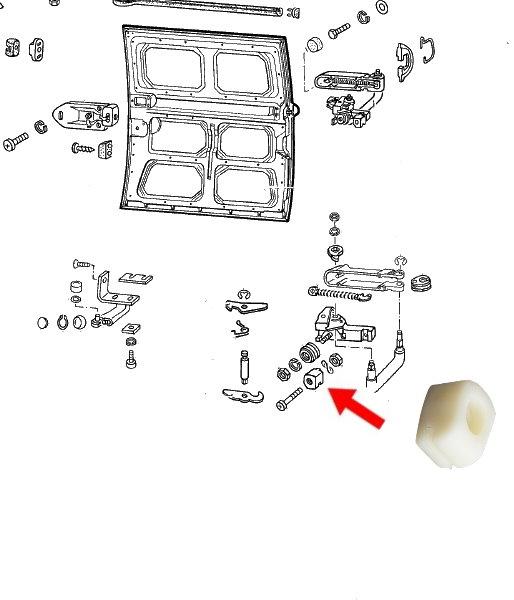 Guide nylon de porte coulissante T2 68-