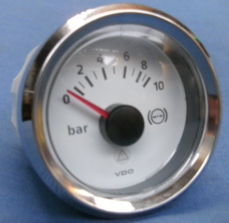 PRESSION D'HUILE 0-10 BARS DIAM 52MM FOND BLANC VDO