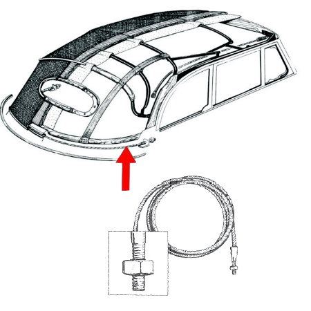 Câble de tension arrière cox cabriolet 8/67-