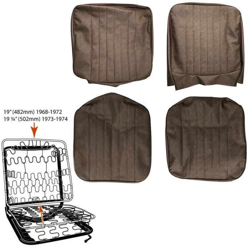 Housse de siège avant marron passage central - Combi 08/67-07/72 basket weave